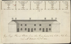 George Perry's Plan and Elevation of Nine Alms Houses Proposed to Be Built in Park Lane